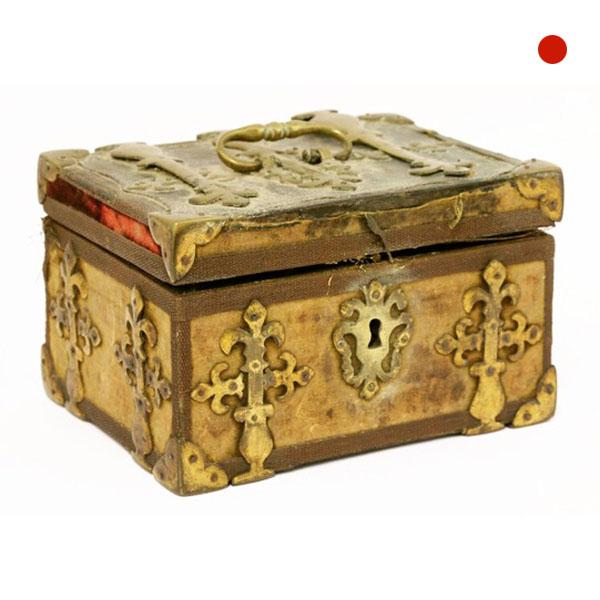 17th-18th Century Silk Covered Strongbox Jewel Casket 1