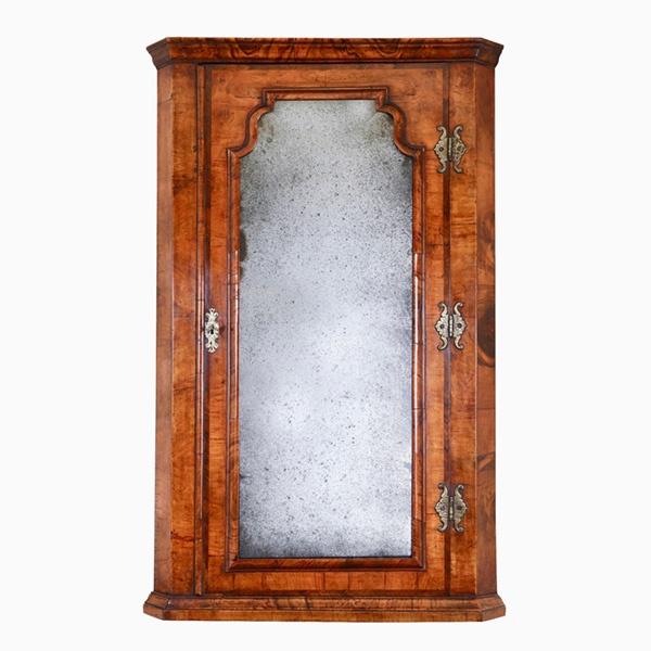 Queen Anne Walnut Corner Cupboard with Bevelled Mirror Plate