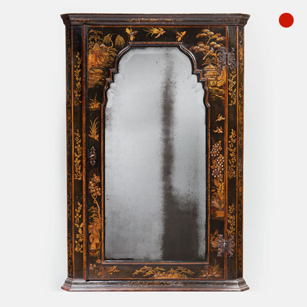 Important Queen Anne Japanned Chinoiserie Corner Cupboard by John Coxed