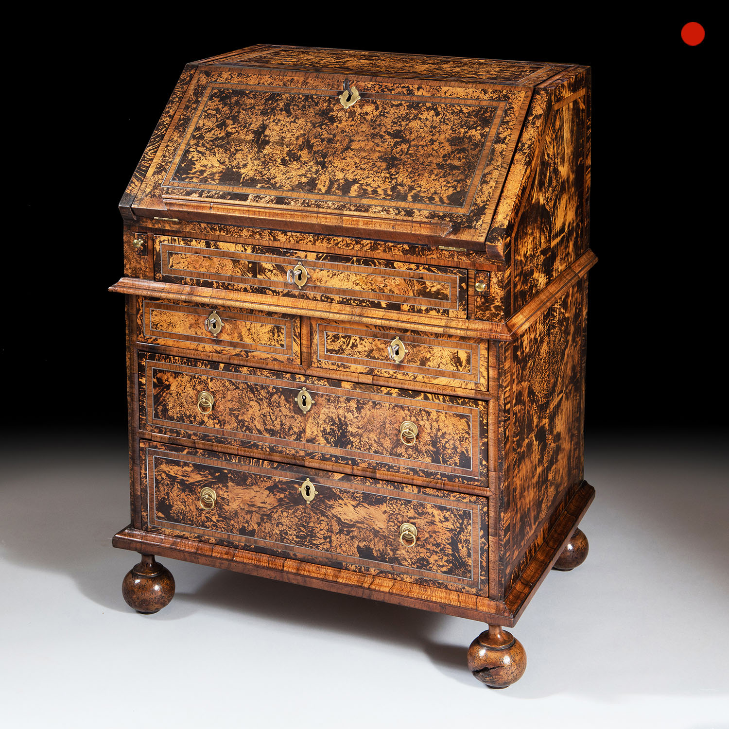 Queen Anne Mulberry Bureau Firmly Attributed to Coxed and Woster, circa 1710 England 1