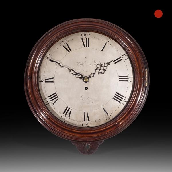 Large Mahogany 18th-Century Dial Clock, William Nicoll, London