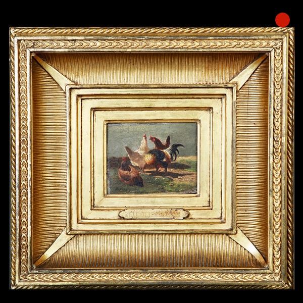19th-Century Study of a Cockerel and Three Hens Oil Painting on Walnut Panel Charles Emile Jacque (1813-1894)