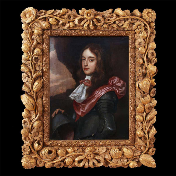 Portrait of a young nobleman, with a strong resemblance to Prince William of Orange. Possibly by Willem van Hornthorst (1596-1666), in a period carved gilt-wood frame
