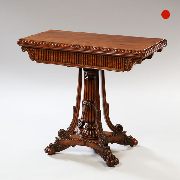 Solid Padauk Carved Anglo-Indian Card Table