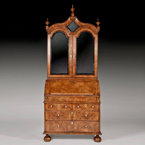 Early 18th Century George I Figured Walnut Bureau Bookcase, England Circa 1720
