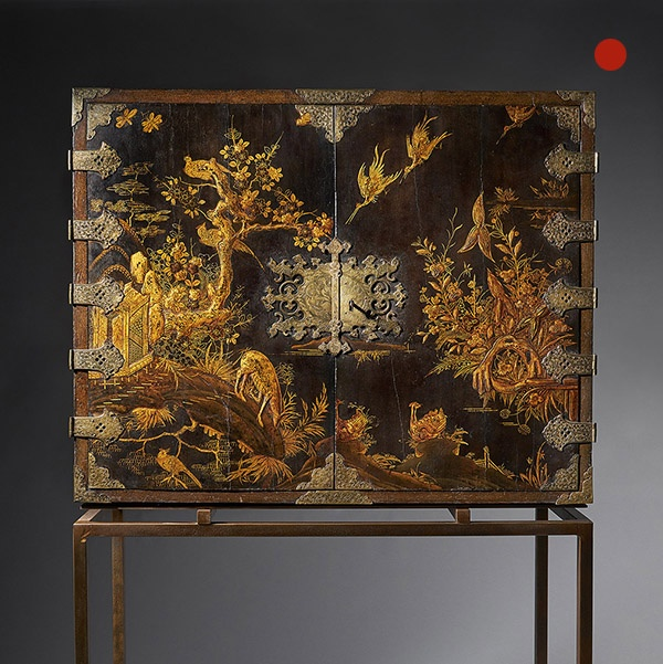 Charles II Japanned Cabinet of exceptional condition c. 1675 raised on a contemporary stand.