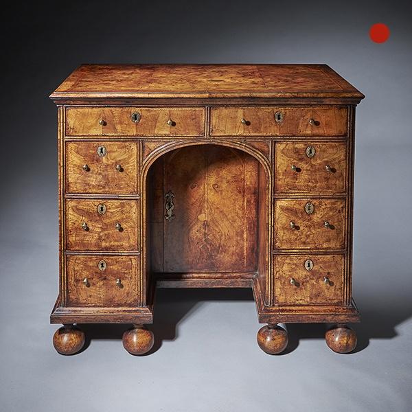Queen Anne Walnut Kneehole Desk