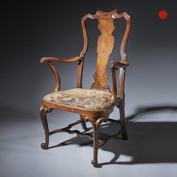 An extraordinary George I walnut armchair Circa 1725, England