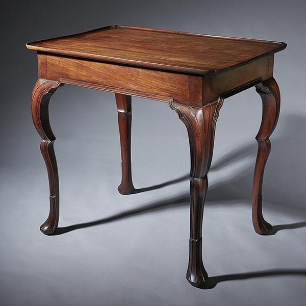 Important 18th Century Mahogany Irish Silver Table or Tea Table, circa 1740-1760