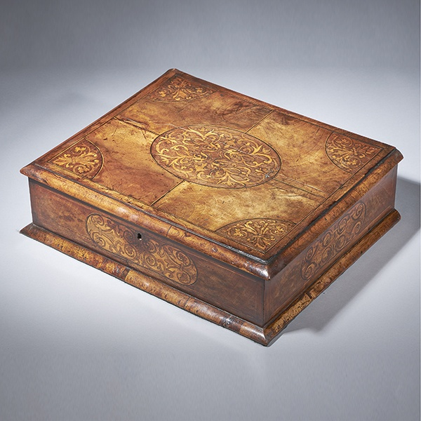 17th Century Figured Walnut and Seaweed Marquetry Lace Box