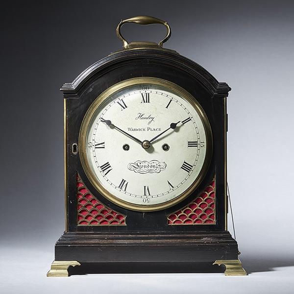 George III Ebonized Eight-Day Twin Fusee Table Clock by O. Hamley