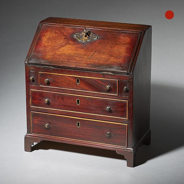 18th Century George II Mahogany Miniature Bureau