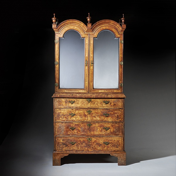 Early 18th Century George I Highly Figured Walnut Double Dome Bookcase on Chest