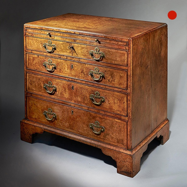 George II Burr/Burl Walnut Caddy Topped Chest, circa 1730-1740