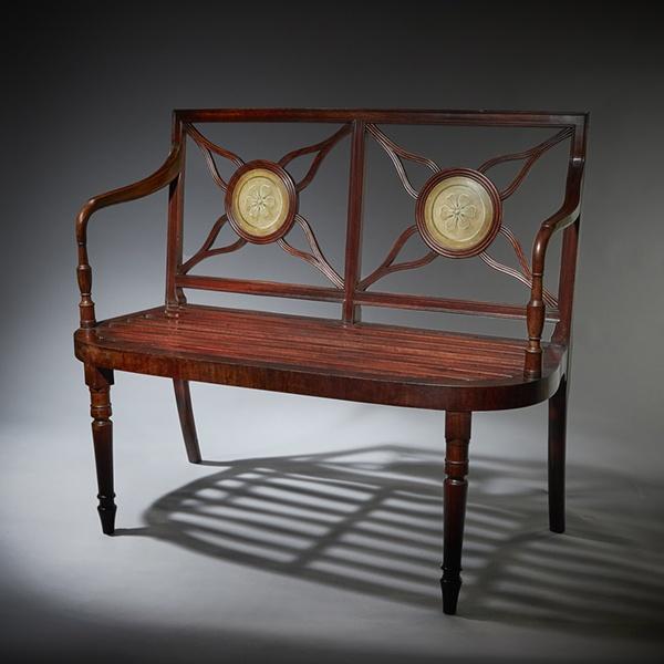Superb George III 18th Century Mahogany Hall Bench Window Seat Armchair