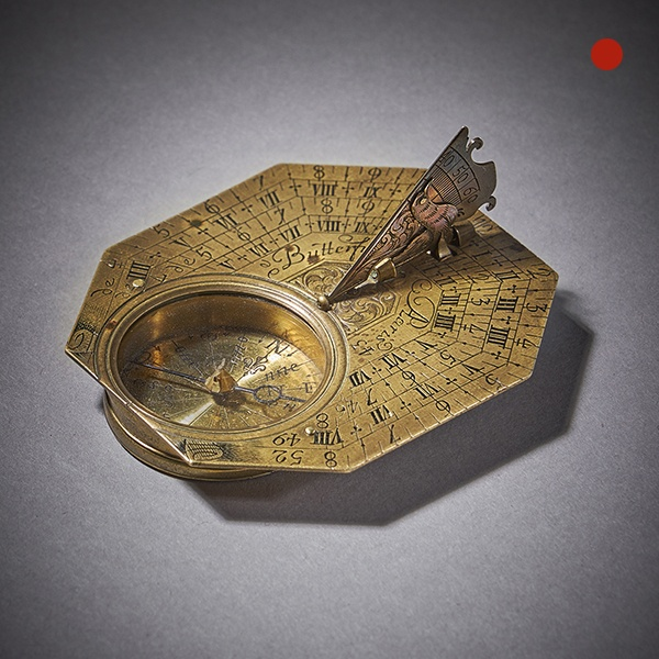 Fine Brass Pocket Sundial and Compass by Michael Butterfield Paris, circa 1700