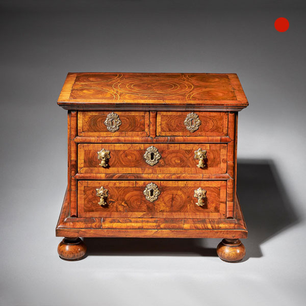 Diminutive 17th century William and Mary Olive Oyster Miniature Chest of Drawers