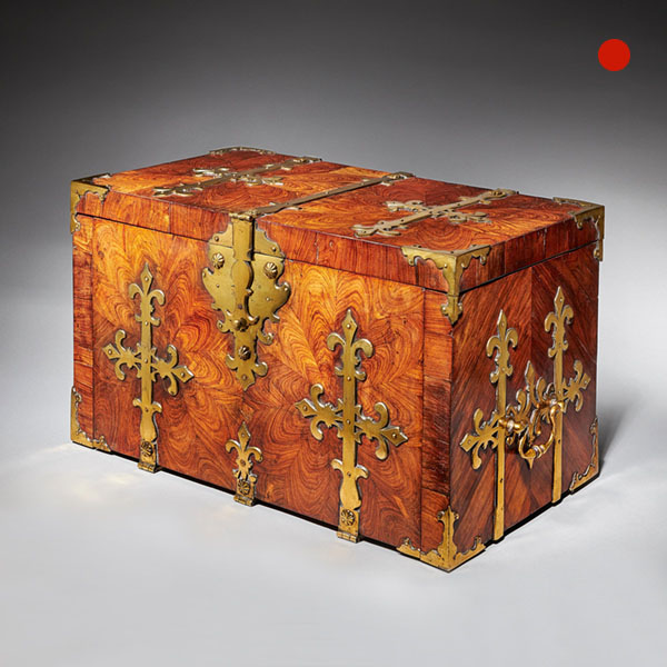17th Century William and Mary Period Kingwood Oyster Strongbox or Coffre Fort