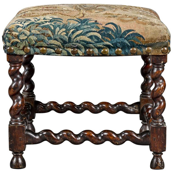 Fine 17th Century Barley or Solomonic Twist Baroque Walnut Stool with Tapestry