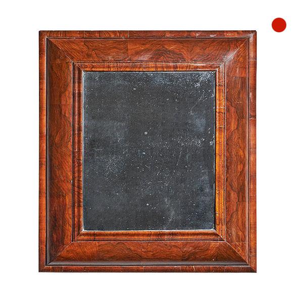 Large 17th Century William and Mary Figured Walnut Cushion Mirror
