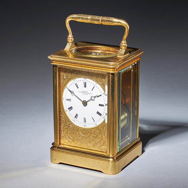 Striking 19th Century Carriage Clock with a Gilt-Brass Corniche Case by Grohé 1