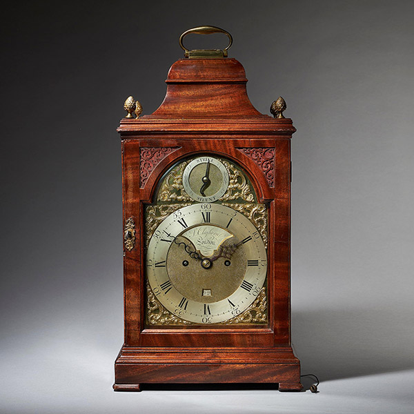 A Fine 18th Century Mahogany Eight Day Table Clock with Trip Quarter Repeat