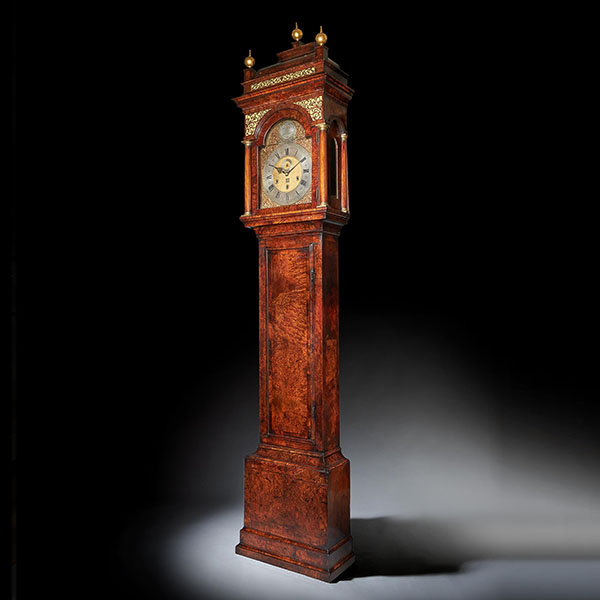 The 10.12ft 18th Century George I Bur/Burl Walnut Month Longcase Clock by James Markwick