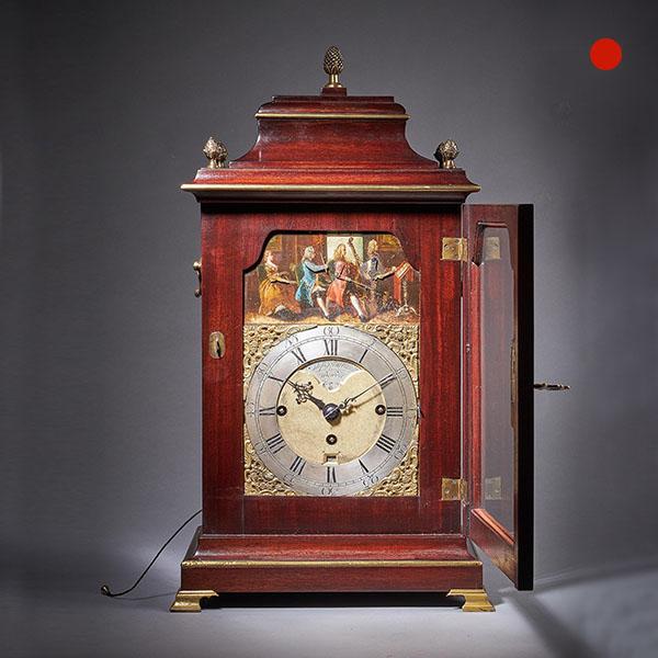 18th Century George III Mahogany Quarter Striking Automation Bracket Clock By Stephen Rimbault