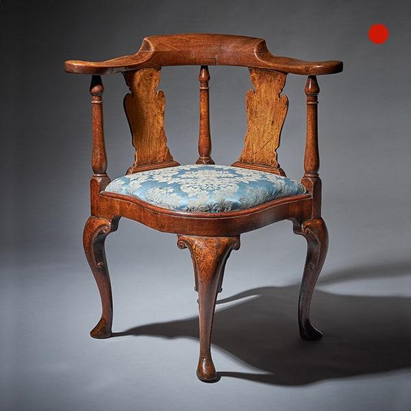 Queen Anne Period Walnut Corner Chair Circa 1702-1714