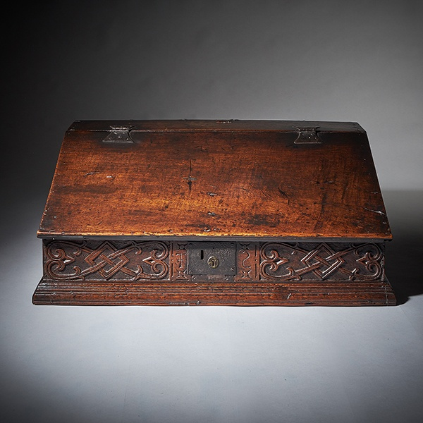 17th Century Charles II Carved Oak Writing Box or Desk Box circa 1660 England
