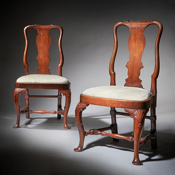 Pair of George I 18th Century Carved Mahogany Chairs, Circa 1720