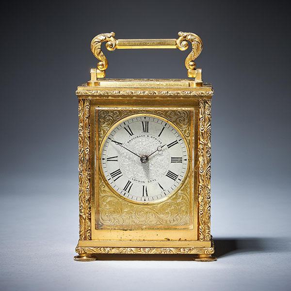 Very Rare English Carriage Clock Signed Brockbank & Atkins London