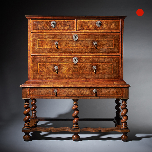 William and Mary 17th Century Olive Oyster Chest on Stand, circa 1680-1690